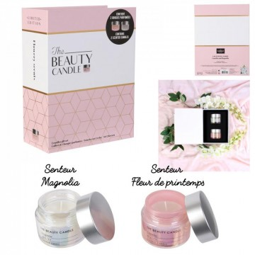 bougie parfumee pot x2 coffret beauty candle