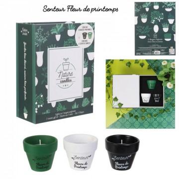 bougie parfumee terracotta x3 coffret jardin