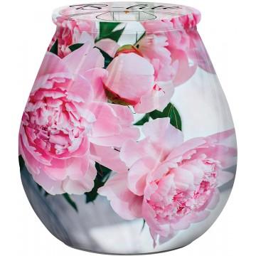 OLIMARI Bougie en Verre 9,3x10cm avec imprimé Fleurs Roses