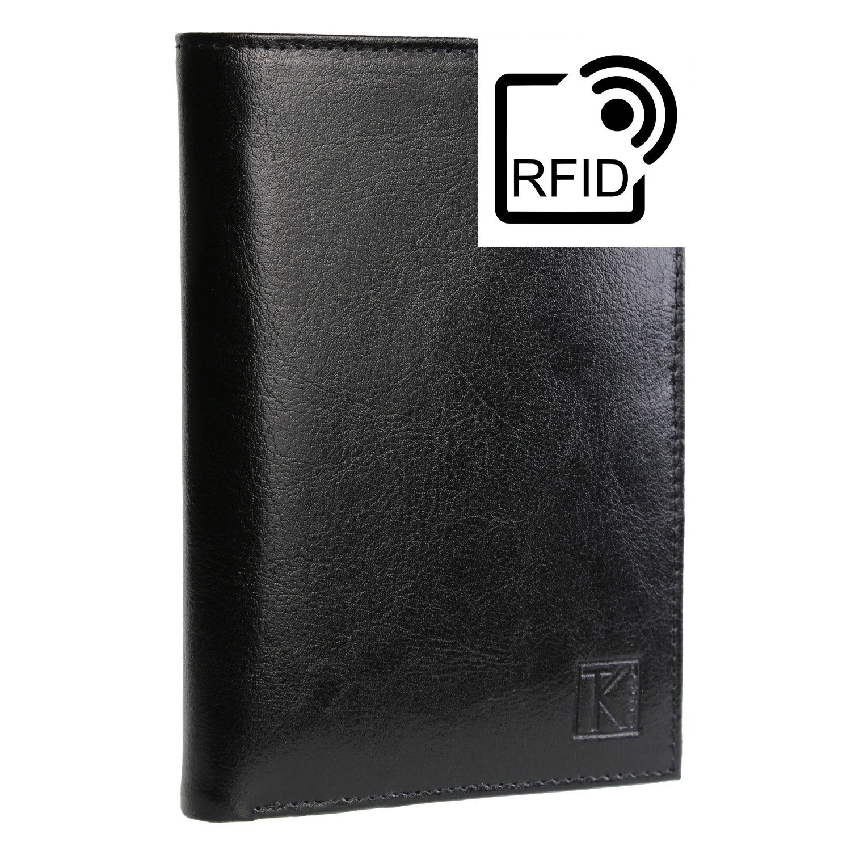 BEST-SELLER TK01 - Portefeuille cuir noir / Portefeuille homme / 15x11 / RFID