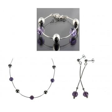 Collier chaine Argent 925 Cristaux violet N634