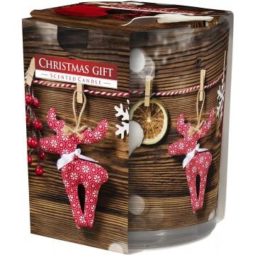 Bougie parfumée 120g Cire 7x8cm 22h Noel (N3252-CHRISTMAS)