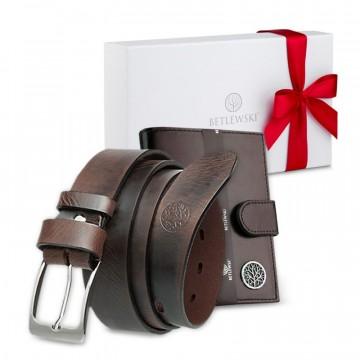 COFFRET CADEAU POUR LUI, portefeuille et ceinture en cuir, dans une belle boîte