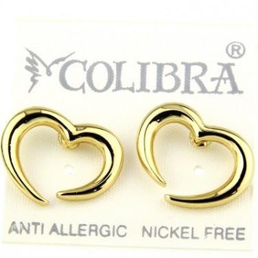 Boucle d'oreilles coeur plaque or jaune 24 carats - Bijoux tendance 596