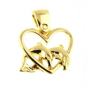 Bijoux Pendentif cœur delphiens plaqué or jaune 24 carats n°602