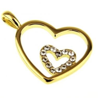 Bijoux Pendentif Coeur Double. cristaux Swarovski sertis sur plaqué Or 606