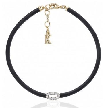Bracelet tendance noir Plaque or. cristaux Swarovski/Karpinski N°610
