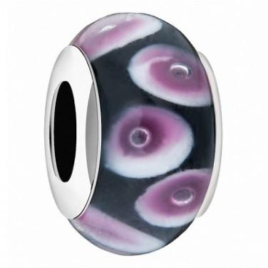 Drpos Charme Bracelet Pendentif verre noire viole/rose N°631