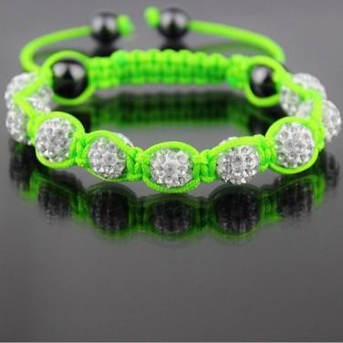 Bracelet Shamballa 9 perles Cristaux Blanc 2 hématites Tendance 2013