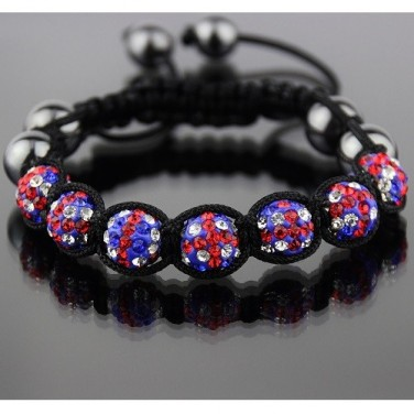 Bracelet Shamballa BESTSELLER 7 perles Cristaux 2 boules hématites Drapeau Anglais UNISEXE