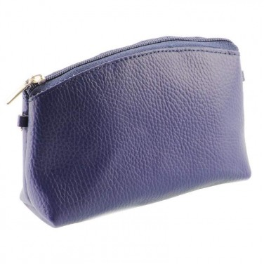 Deux en Un / Trousse de toilette - petit sac à bandoulière en cuir grainé BLEU MARINE N1611 Achat / Cadeau utile