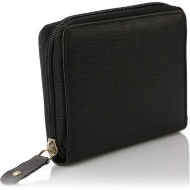 Portefeuille pas cher. cuir noir N1729 - Portefeuille femme